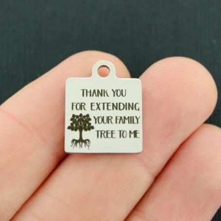 Family tree Stainless Steel Charm BFS2546 Thanks for extending your