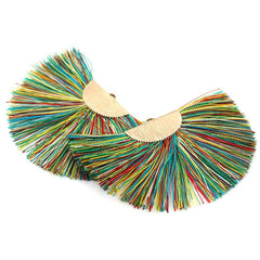 Fan Tassel Gold Tone and Rainbow Colors - Gorgeous Earring Component or Pendant - Z907