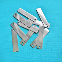 Rectangle Stamping Blanks - Stainless Steel - 40mm x 9mm - 10 Tags - MT223