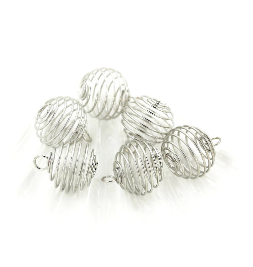 Silver Tone Bead Cages - 15mm x 14mm - 5 Pieces - Z216