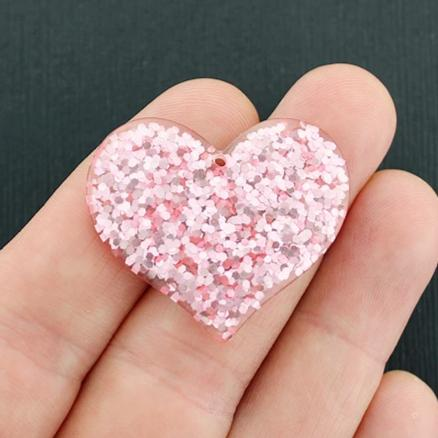 4 Heart Resin Charms - K025