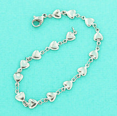 Stainless Steel Cable Heart Chain Bracelet 7 1/2