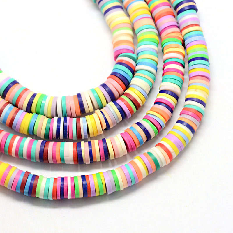 Heishi Polymer Clay Beads 4mm x 1mm - Assorted Bright Colors - 1 Strand 380 Beads - BD1322