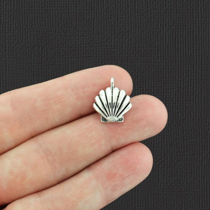 15 Seashell Antique Silver Tone Charms - SC2486