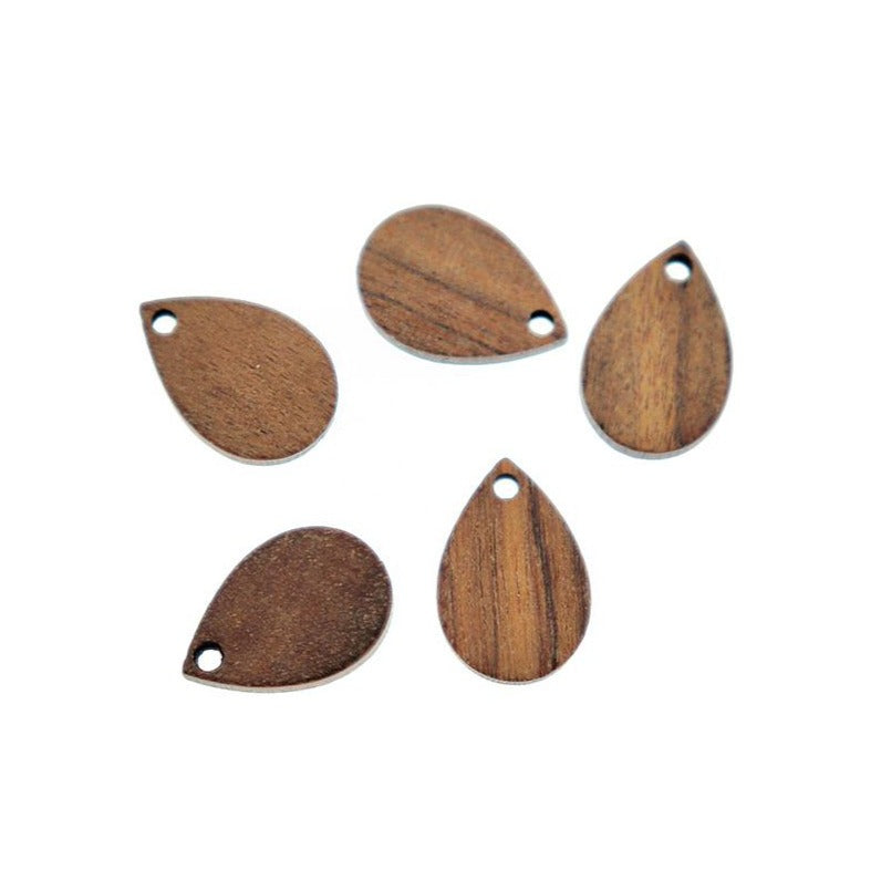4 Teardrop Natural Wood Charms - Z1167