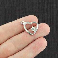 4 Ribbon Heart Silver Tone Charms With Inset Rhinestone - SC2424