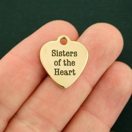 Friendship Gold Stainless Steel Charm - Sisters of the Heart - Exclusive Line - Quantity Options - BFS357GOLD