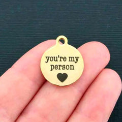 Friendship Gold Stainless Steel Charm - You're my person - Exclusive Line - Quantity Options - BFS573GOLD