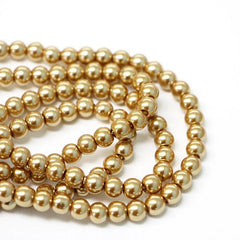 Round Glass Beads 6mm - Pearl Gold - 1 Strand 145 Beads - BD1478