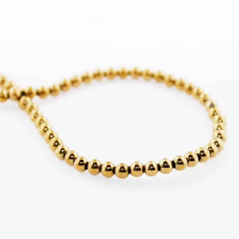 Round Hematite Beads 3mm - Gold - 1 Strand 136 Beads - BD1102