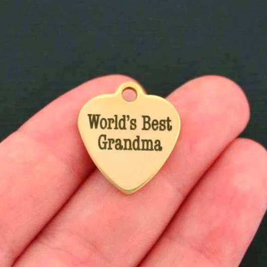Grandma Gold Stainless Steel Charm BFS420GOLD World/'s Best
