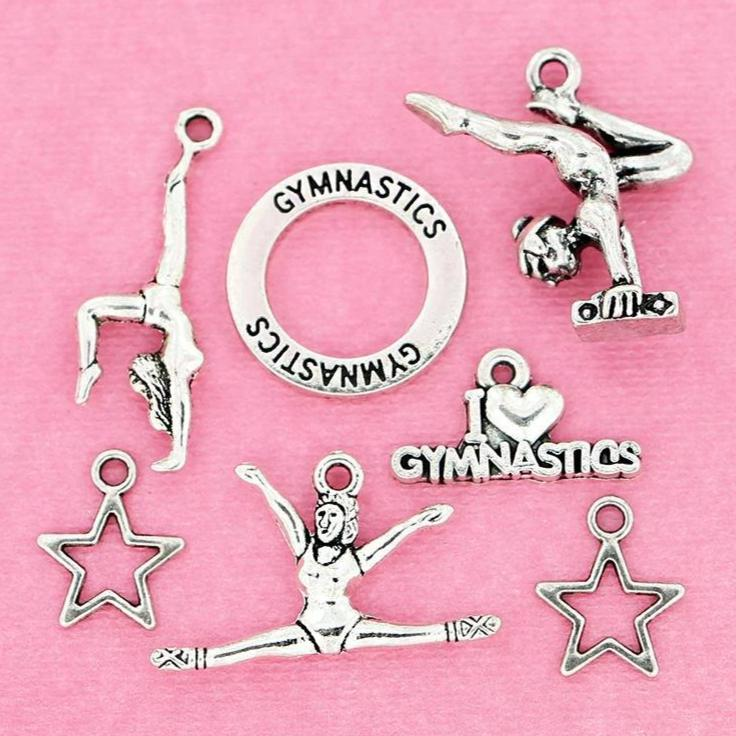 Gymnastics Charm Collection Antique Silver Tone 7 Charms - COL105