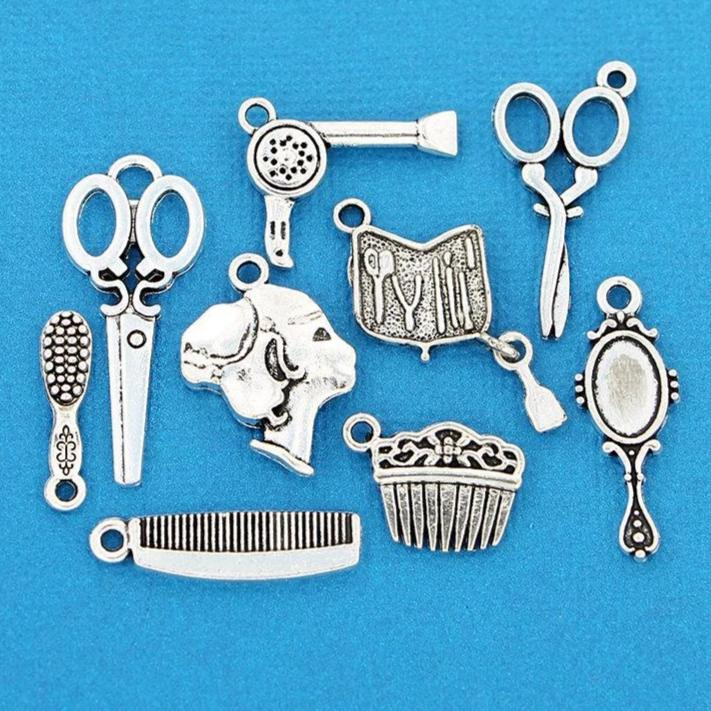 Hair Salon Charm Collection Antique Silver Tone 9 Different Charms - COL076