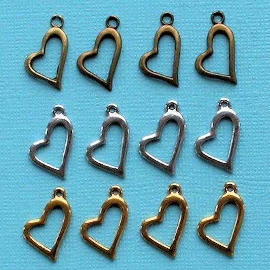 Heart Charm Collection Antique Gold Bronze and Silver Tone 12 Charms - COL241