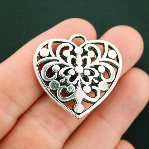 SC7514 Filigree Pendant Charm Antique Silver Tone Large Size Delicate Detail