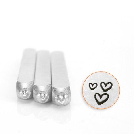 Hearts Metal Stamp Pack - Set of 3 - ImpressArt Steel Stamping Tool for Hand Stamping Jewelry and Leather - AA160