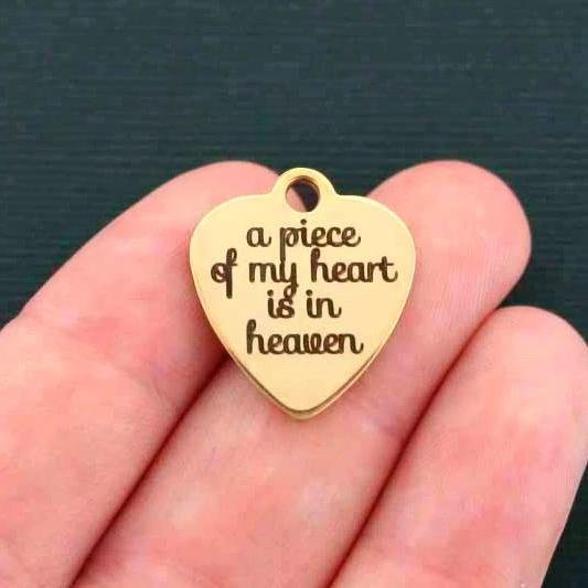 In Memory Gold Stainless Steel Charm - A Piece of my Heart is in Heaven - Exclusive Line - Quantity Options - BFS583GOLD