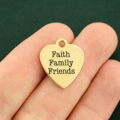 Inspirational Gold Stainless Steel Charm - Faith Family Friends - Exclusive Line - Quantity Options - BFS117GOLD