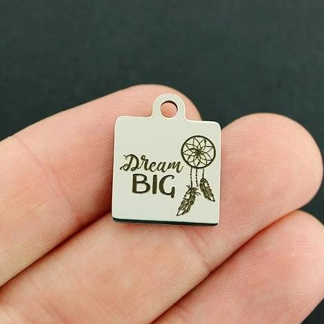 Quantity Options Dream Believe Inspire Stainless Steel Charms BFS1252