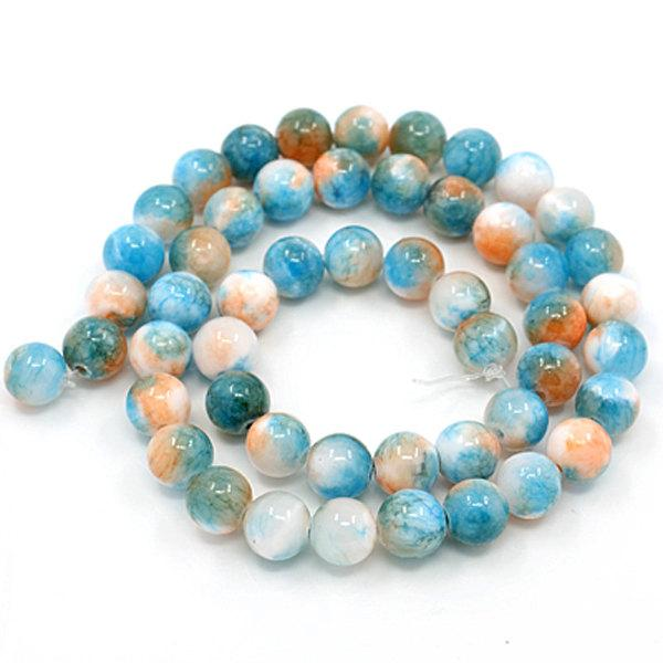 Round Natural Jade Beads 6mm - Blue, Peach, and White - 1 Strand 62 Beads - BD726