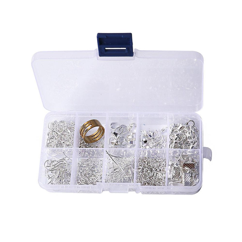 Jewelry Making Starter Kit - Silver Plated Findings in Handy Storage Box - 740 pieces - 11 Different Jewelry Basics - STARTER2