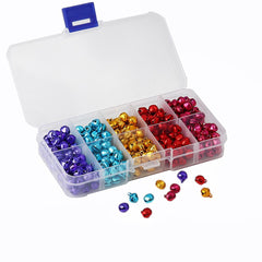 Jingle Bells 9mm x 8mm in 5 Assorted Festive Colors - 300 Charms - Aluminum in Handy Storage Box - STARTER25