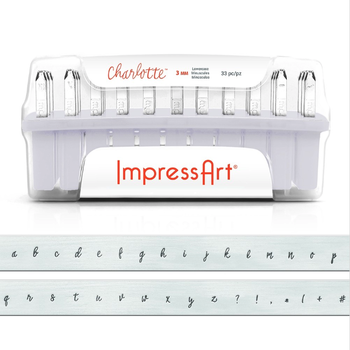 Letter Metal Stamp ImpressArt CHARLOTTE Lowercase 3mm for Hand Stamping - Full Alphabet with 7 Bonus Stamps and Storage Case - AA271