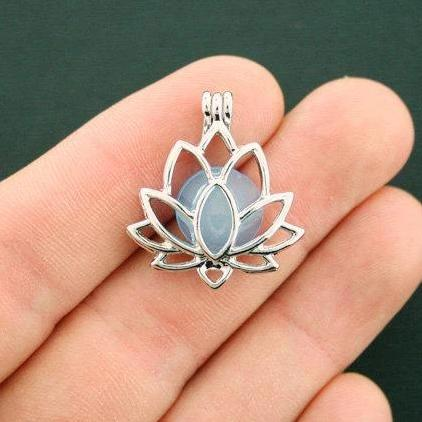 Lotus Blossom Bead Cage Antique Silver Tone Charm 3D - SC6270