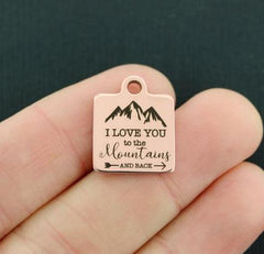 Love Rose Gold Stainless Steel Charm - I love you to the mountains and back - Exclusive Line - Quantity Options - BFS4382ROGOLD