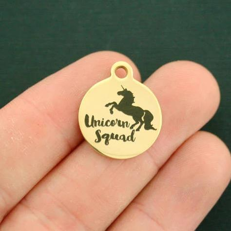 Magical Gold Stainless Steel Charm - Unicorn Squad - Exclusive Line - Quantity Options - BFS2841GOLD