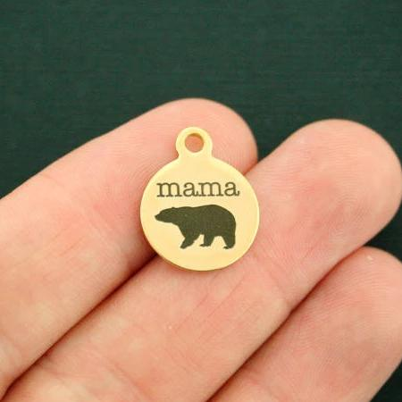 Mama Bear Gold Stainless Steel Charm - Smaller Size - Exclusive Line - Quantity Options - BFS1689GOLD
