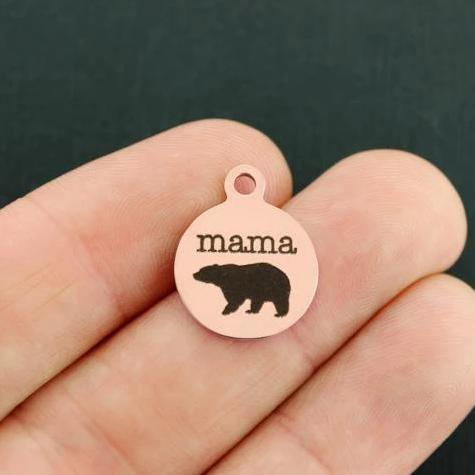 Mama Bear Rose Gold Stainless Steel Charm - Smaller Size - Exclusive Line - Quantity Options - BFS1689ROGOLD