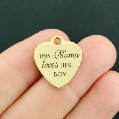 Mother Gold Stainless Steel Charm - This mama loves her... boy - Exclusive Line - Quantity Options - BFS4068GOLD