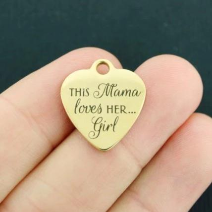 Mother Gold Stainless Steel Charm - This mama loves her... girl - Exclsuive Line - Quantity Options - BFS4069GOLD