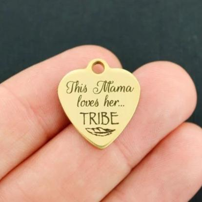 Mother Gold Stainless Steel Charm - This Mama Loves Her Tribe - Exclusive Line - Quantity Options - BFS4070GOLD