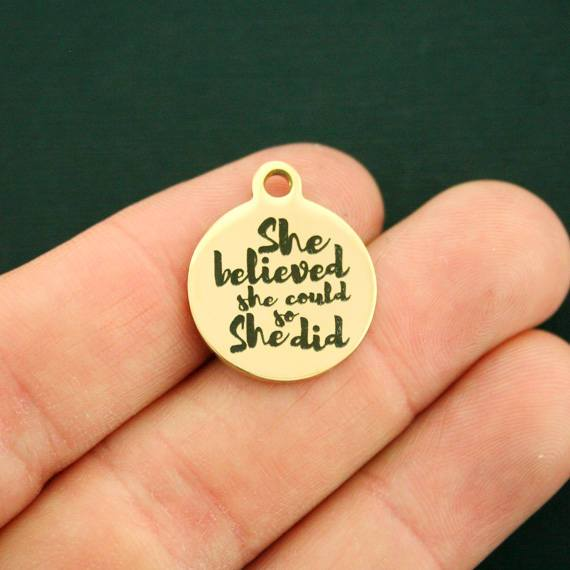 Motivational Gold Stainless Steel Charm - She believed she Could So She Did - Exclusive Line - Quantity Options - BFS2729GOLD