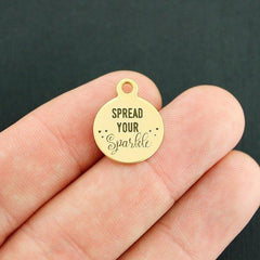 Motivational Gold Stainless Steel Charm - Spread your Sparkle - Smaller Size - Exclusive Line - Quantity Options - BFS3966GOLD