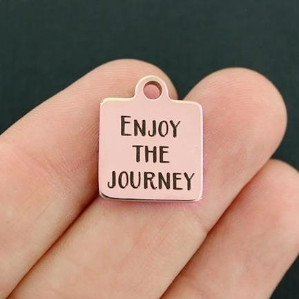 Motivational Rose Gold Stainless Steel Charm - Enjoy the Journey - Exclusive Line - Quantity Options - BFS717ROGOLD