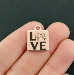 Camping Rose Gold Stainless Steel Charm - LOVE - Exclusive Line - Quantity Options - BFS4380ROGOLD