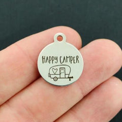 Outdoors Stainless Steel Charms - Happy Camper - Exclusive Line - Quantity Options - BFS3295
