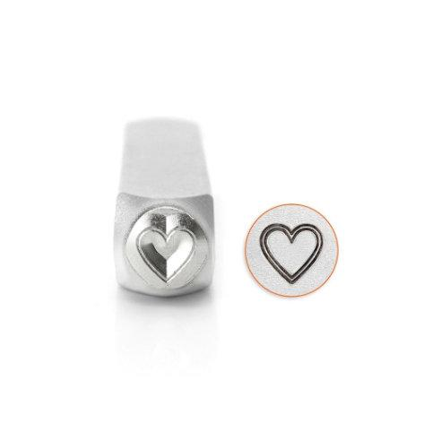 Outline Heart Metal Stamp ImpressArt Steel Stamping Tool for Hand Stamping Jewelry and Leather 6mm - AA248