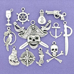 Pirate Charm Collection Antique Silver Tone 12 Different Charms - COL100