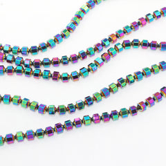 Faceted Hematite Beads 4mm - Rainbow Electroplated - 1 Strand 103 Beads - BD1360