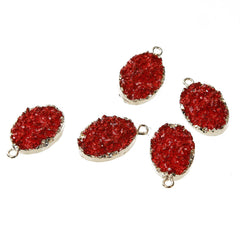 Z191 Red Resin Druzy Pendant Gold Plated Medium Size 22mm x 13mm