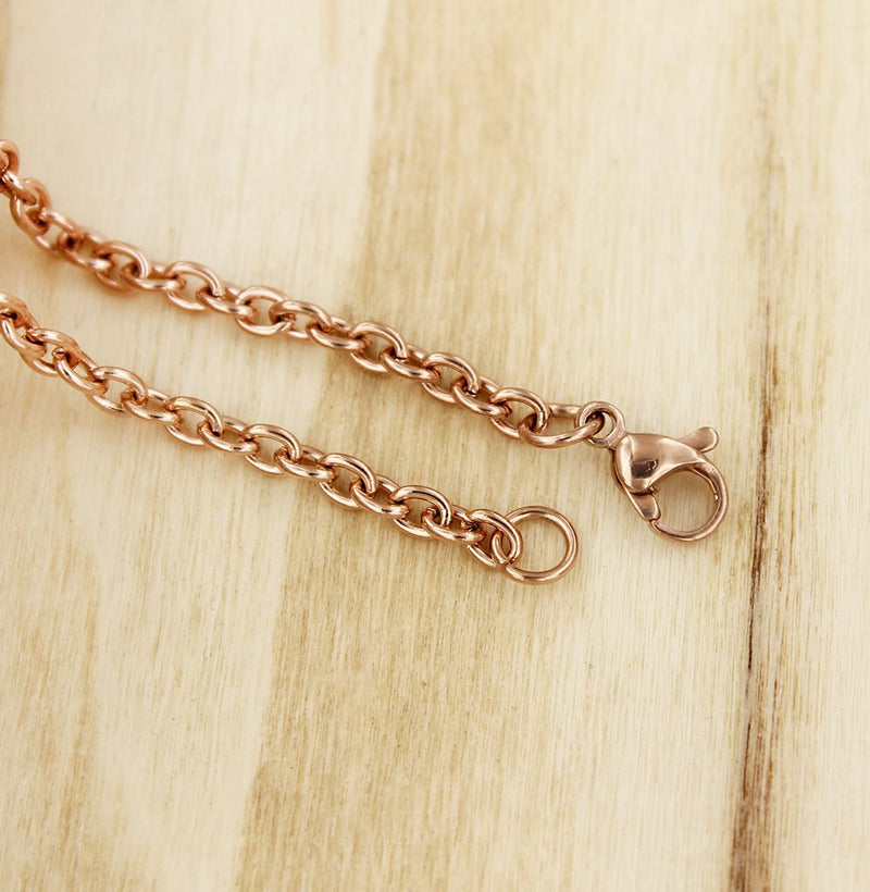 "Rose Gold Stainless Steel Cable Chain 24"" - 3mm - 1 Necklace - N550"