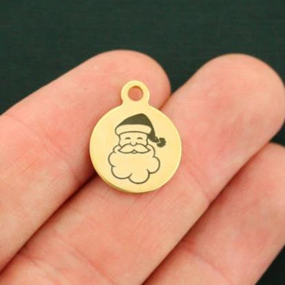 Santa Gold Stainless Steel Charm - Smaller Size - Exclusive Line - Quantity Options - BFS2587GOLD