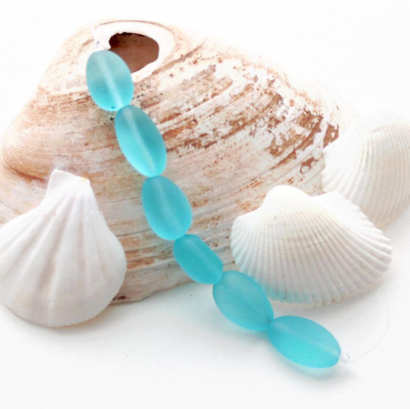 Nugget Cultured Sea Glass Beads 18mm x 22mm  - Frosted Light Blue - 1 Strand 6 Beads - U096