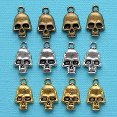 Skull Charm Collection Antique Silver Bronze and Gold Tone 12 Charms - COL226
