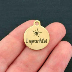 Sparkle Gold Stainless Steel Charm - I Sparkle! - Exclusive Line - Quantity Options - BFS227GOLD