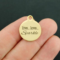 Sparkle Gold Stainless Steel Charm - Live... Love... Sparkle - Exclusive Line - Quantity Options - BFS3459GOLD